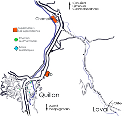 Map of Hameau de Laval, Quillan Aude France